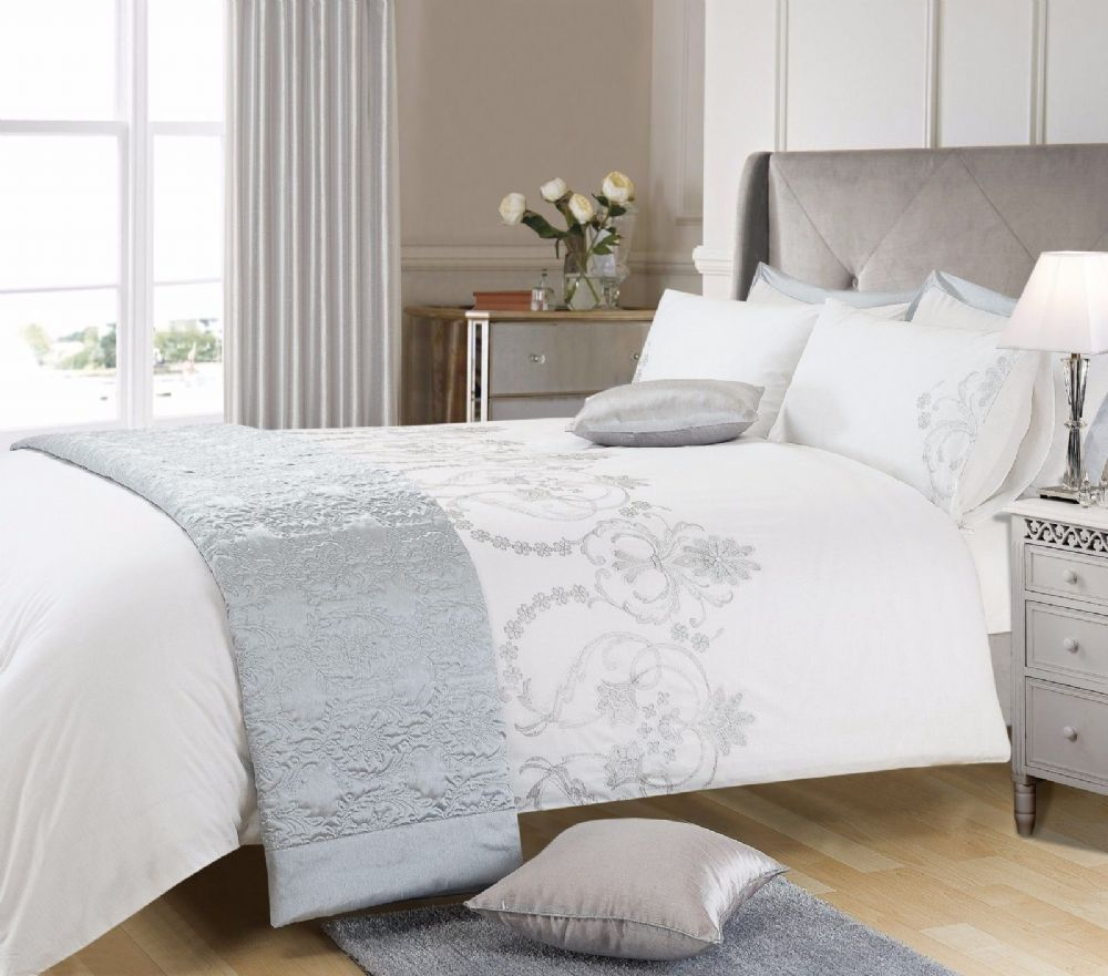 Gray Embroidered Comforter : White grey silver colour stylish embroidered duvet cover